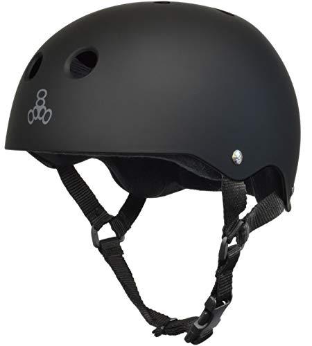 Triple Eight Sweatsaver Liner Skateboarding Helmet, All Black Rubber, Large