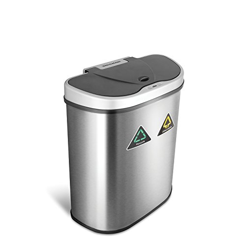 NINESTARS Automatic Touchless Infrared Motion Sensor Trash Can/Recycler with D Shape Silver/Black...