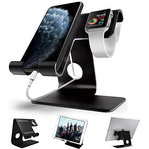 Apple Watch Stand, ZVEproof 2 in 1 Universal Desktop Cellphone Stand and Apple Watch Stand, Aluminum...