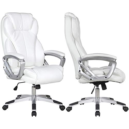 2xhome - Set of Two (2) - White - Deluxe Professional PU Leather Big Tall Ergonomic Office High Back...