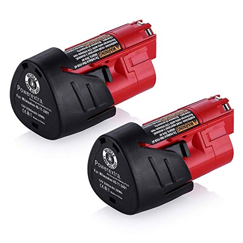 Powerextra 2 Pack 12V 2500mAh Lithium-ion Replacement Battery Compatible with Milwaukee M12...