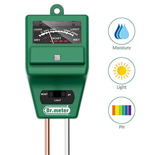 Dr.meter S30 Soil Moisture Meter Sunlight PH Acidity 3-in-1 Soil Tester Kit for Garden Farm Lawn...
