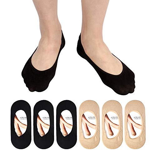 Women's No Show Liner Socks 6 Pairs Thin Low Cut Casual Socks Non Slip (beige socks(6 pairs))