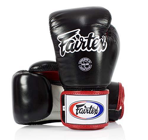 Fairtex Muay Thai Style Training Sparring Gloves, 12 oz, Black/White