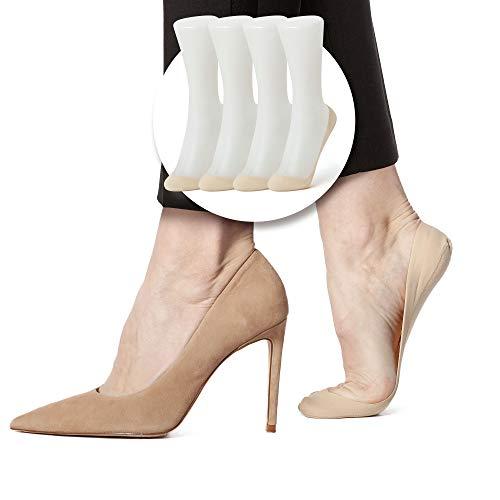 SHEEC SoleHugger Secret 2.0 Ultra-Low Cut - No Show Non Slip Women's Sock - Cream Medium 4 Pairs
