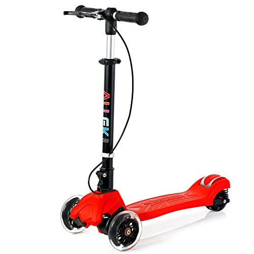 Allek Scooter, 3 Wheel Kick Scooter for Kids Boys Girls Adjustable Height PU Flashing Wheels Best...