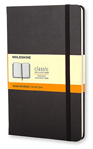 Moleskine Classic Notebook, Hard Cover, Large (5' x 8.25') Ruled/Lined, Black