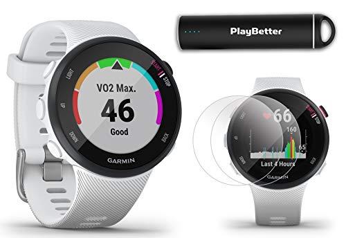 Garmin Forerunner 45S (White, Small) Running GPS Watch Power Bundle | +HD Screen Protectors &...
