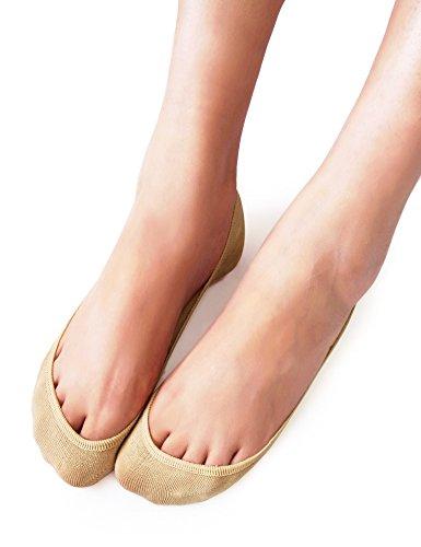 VERO MONTE 4 Pairs Womens TRULY No Show Socks (Nude, 5.5-7) -Boat Socks