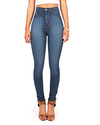 Vibrant Womens Juniors Classic High Waist Denim Skinny Jeans 9 Medium Denim