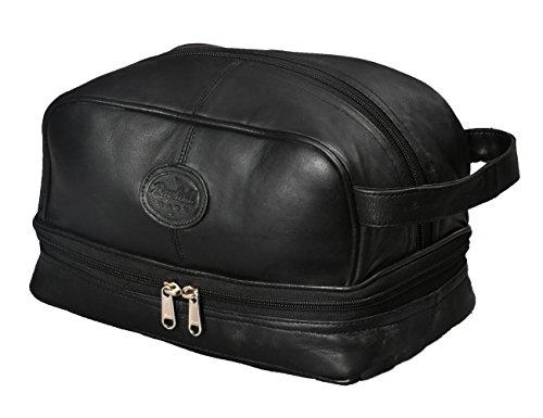 Mens Toiletry Bag Shaving Dopp Kit For Travel by Bayfield Bags (Black) Bottom Storage Holds...