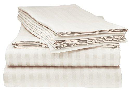 ELAINE KAREN Striped 4PC Queen Sheet Set, Ivory