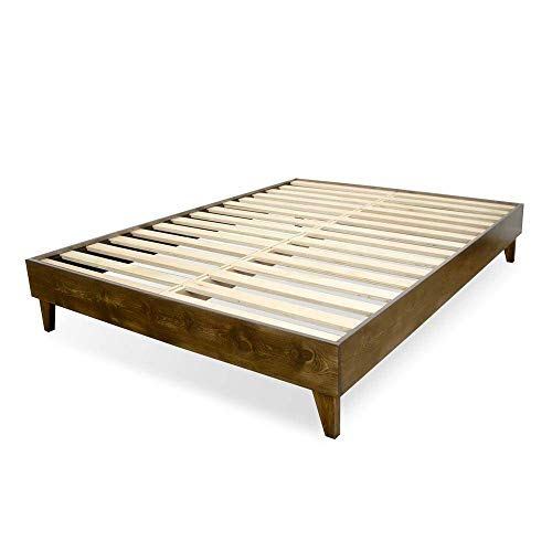 eLuxurySupply Wood Bed Frame - 100% North American Pine - Solid Mattress Platform Foundation...