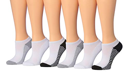 Tipi Toe Women's 6-Pack No Show Athletic Socks, Sock Size 9-11 Fits Shoe 6-9, SP06-6