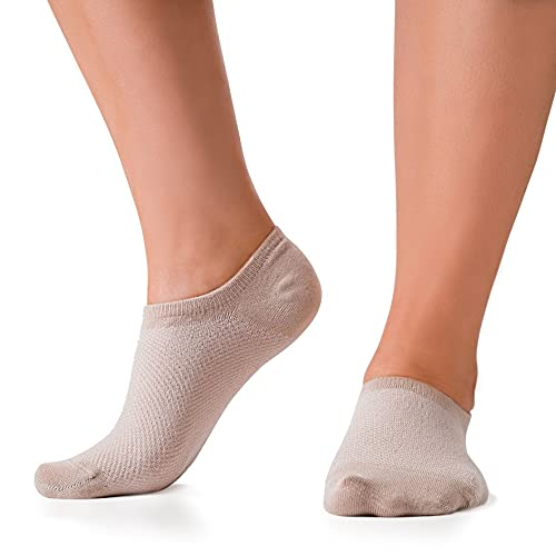 Bam&bü Women's Premium Bamboo No Show Casual Socks - 3 pairs - Beige - Small 5-7.5