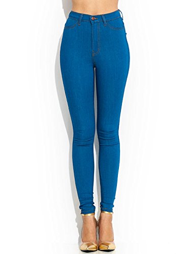 Vintage High-Waisted Skinnies,Blue 5