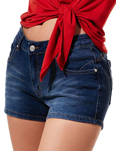LE3NO Womens Stretchy Vintage Distressed Denim Jean Shorts with Pockets