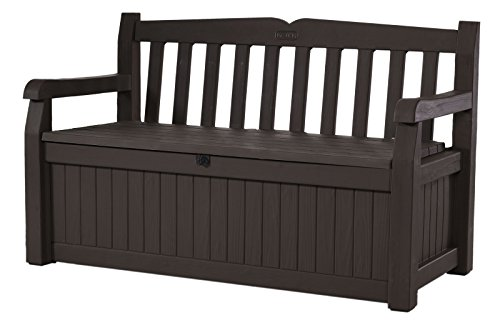Keter Eden 70 Gallon Storage Bench Deck Box for Patio Decor and Outdoor Seating, Brown/Brown