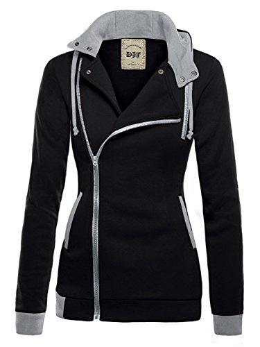 DJT Womens Oblique Zipper Slim Fit Hoodie Jacket Medium Black