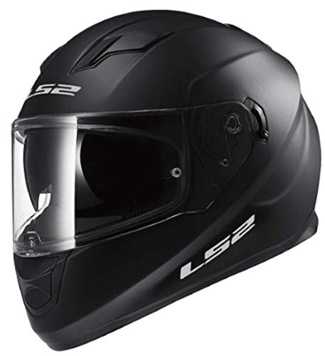 LS2 Stream Solid Full Face Motorcycle Helmet With Sunshield (Matte Black, Large)