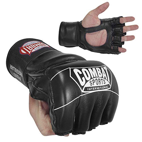 Combat Sports Pro Style Grappling MMA Gloves, Regular, Black