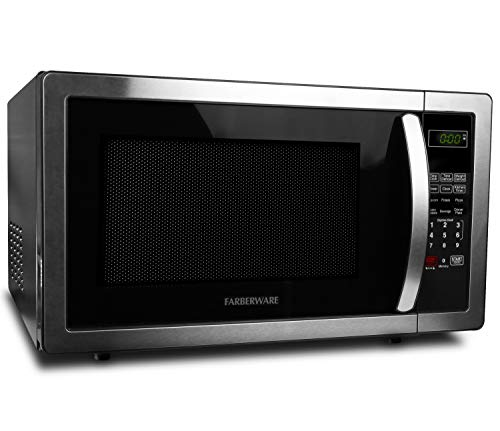 Farberware FMO11AHTBKB 1.1 Cu. Ft. Stainless Steel Countertop Microwave Oven With 6 Cooking...