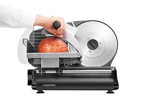 Chefman Electric Deli & Food Slicer Die-Cast Machine for Home Use Slice Meat, Cheese, Bread, Fruit &...