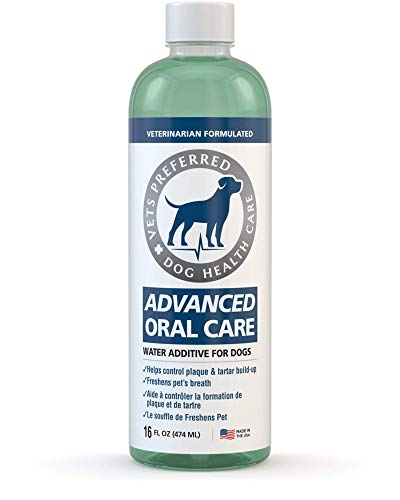 Vets Preferred Dog Breath Freshener Water Additive - Fights Bad Breath, Removes Plaque and Tartar,...