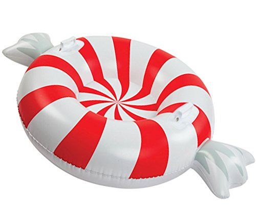 BigMouth Inc. Peppermint Snow Tube - 3 ft. Wide Inflatable Snow Tube with Easy Grip Handles, Made of...