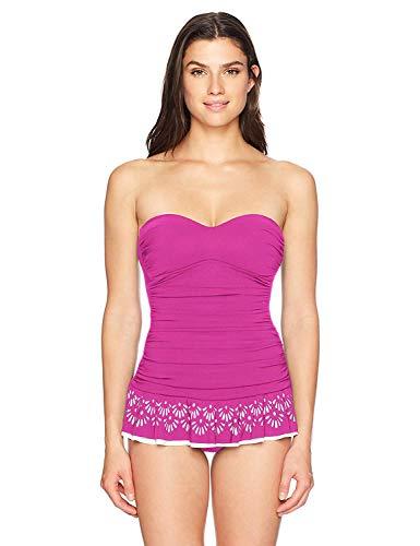 Profile by Gottex Women's Laser Cut Bandeau Swimdress One Piece Swimsuit, Tutti Frutti Black II, 16