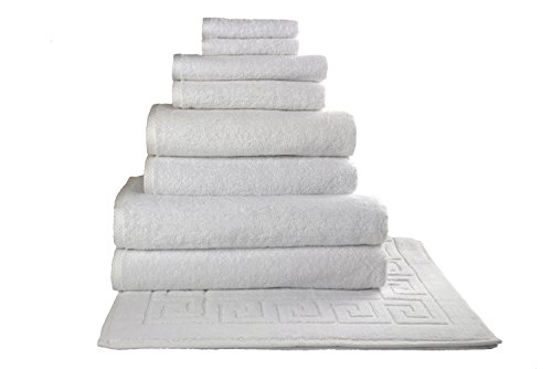 SALBAKOS Giallo 9 Piece Turkish Hotel Collection Bath Towel Set with Tub Mat