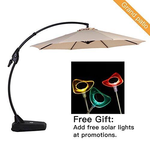 Grand Patio Deluxe NAPOLI 10 FT Curvy Aluminum Offset Umbrella, Patio Cantilever Umbrella with Base,...