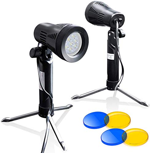 LimoStudio 2 Sets Photography Continuous LED Portable Light Lamp for Table Top Studio with Color...