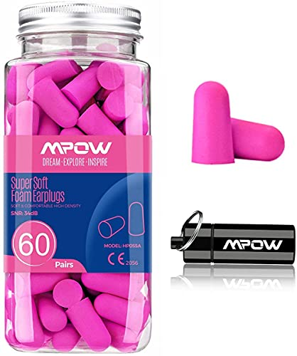 Mpow Super Soft Sleeping Earplugs 60 Pairs with a Carry Case, 32dB NRR Noise Reduction Ear Plugs,...
