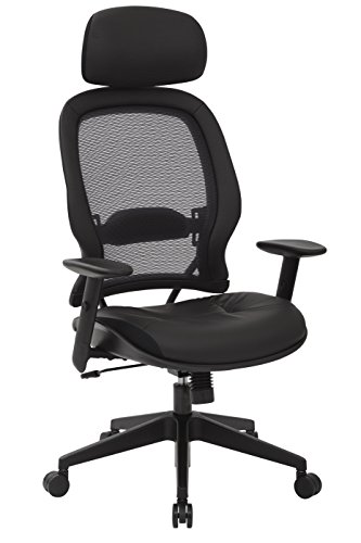 SPACE Seating Professional AirGrid Dark Back and Padded Black Eco Leather Seat, 2-to-1 Synchro Tilt...