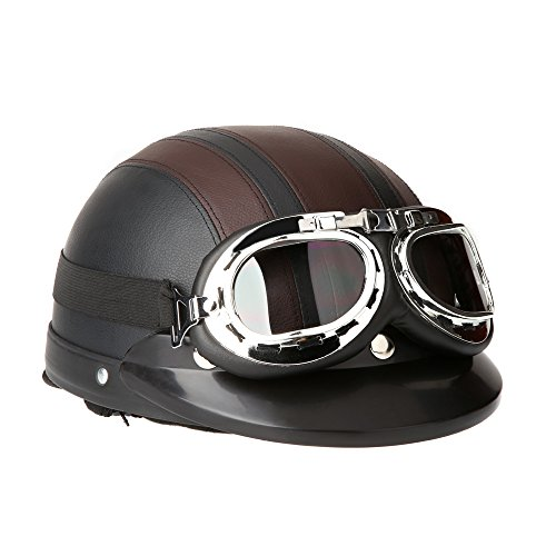 Docooler Leather Motorcycle Goggles Vintage Garman Style Half Helmets Motorcycle Biker Cruiser...