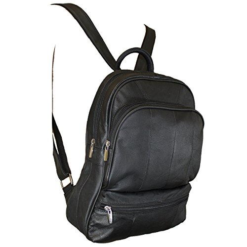 Genuine Leather Backpack Handbag Purse Sling Shoulder Bag Medium Size Black