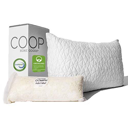 Coop Home Goods - Premium Adjustable Loft Pillow - Hypoallergenic Cross-Cut Memory Foam Fill -...