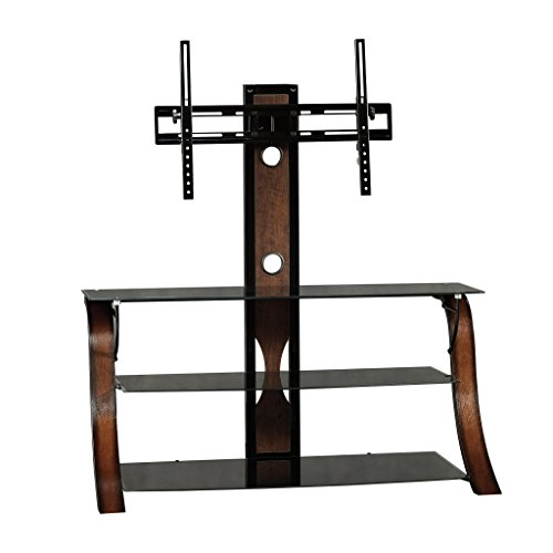 Sauder Veer Panel TV Stand with TV Mount, For Tv's up to 50', Black/Seasoned Cherry finish and Black...