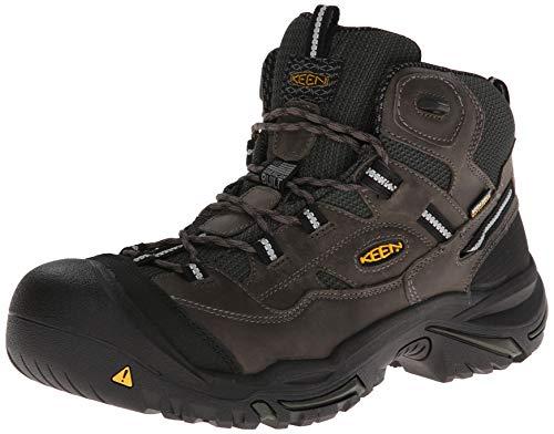 KEEN Utility Men's Braddock Mid Steel Toe Waterproof Work Shoe, Gargoyle/Forest Night, 12 Medium US