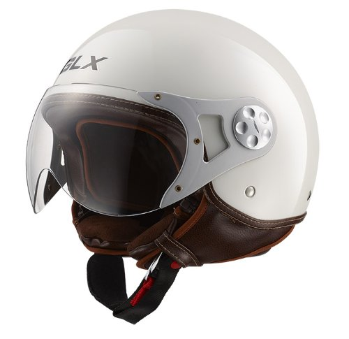 GLX Copter Style Open Face Motorcycle Helmet (Montebianco White, Small)