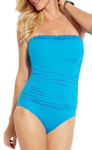 Jantzen Women's Solid Pin Tuck One Piece Swimsuit Bandeau