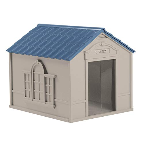 Suncast Outdoor Dog House with Door - Water Resistant and Attractive for Small to Large Sized Dogs -...