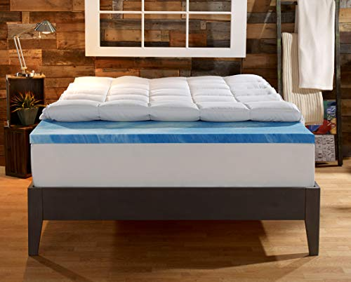 Sleep Innovations Gel Memory Foam 4-inch Dual Layer Mattress Topper, Made in The USA with a 10-Year...