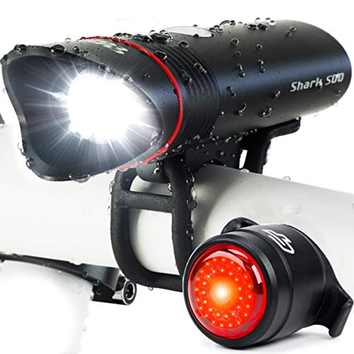 Bike Light USB Rechargeable, Cycle Torch Shark 500 Headlight & Tail Light Set, Fits All Bicycles,...