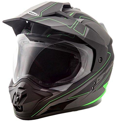 GMAX GM11 Mens Expedition Dual Sports Helmet - Flat Black/Hi-Vis Green Medium