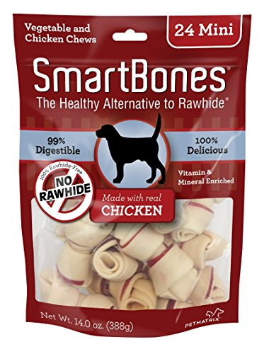 SmartBones Mini Chews With Real Chicken 24 Count, Rawhide-Free Chews For Dogs