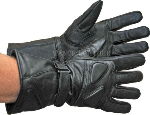 Vance Leather All Leather Premium Padded Gauntlet Snowmobile Gloves Large