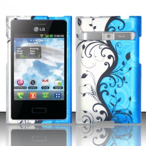 For LG Optimus Logic L35g / Dynamic L38c (StraightTalk/Net 10) Rubberized Design Cover - Blue Vines