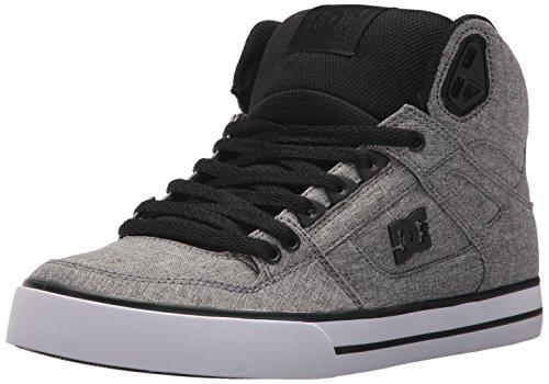 DC Men's Spartan HIGH WC TX SE Skate Shoe, Black/Heather Grey, 6 D US